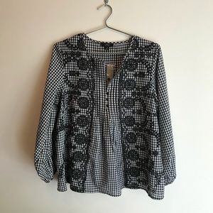 J. Crew | Gingham Check Embroidery Blouse
